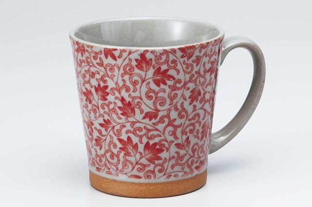 マグカップ コップ コーヒー/ 土物サラサ赤 マグ ...