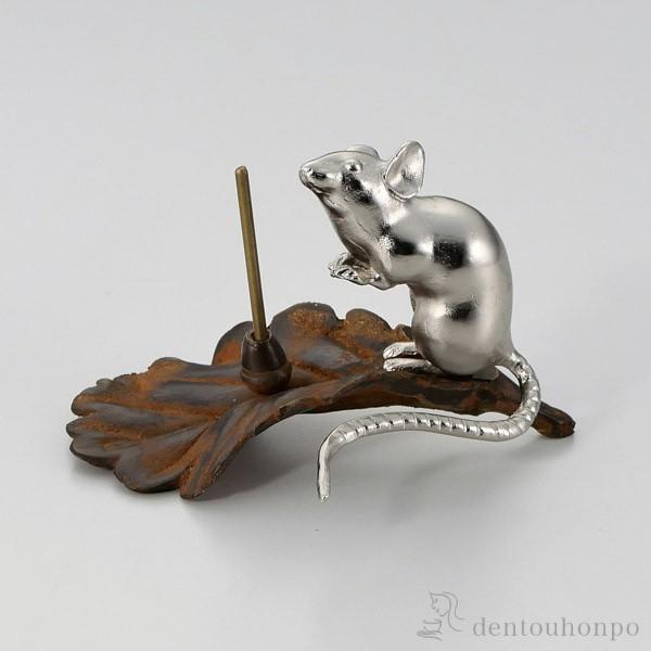 「送料無料」 銅製香立 木の葉ネズミ 子 銀 ( お...