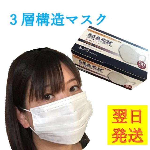【翌日発送】不織布 使い捨てマスク 50枚 箱入り ...