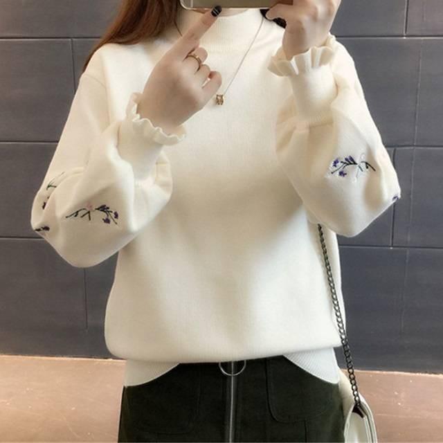 秋冬 花柄 トップス 刺繍セーター ハイネック セ...