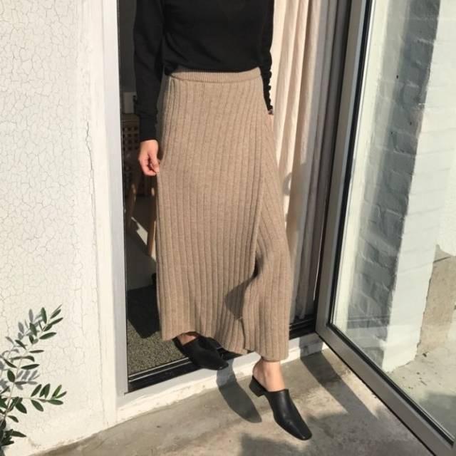 2018 秋服 リブニット ラップスカート ロング丈 ...