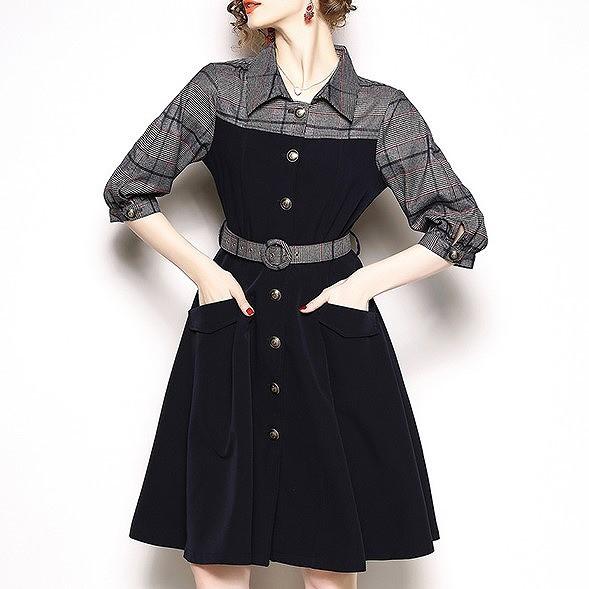 ワンピース フレアスカート グレンチェック バイカラー レディース 春服 秋服 韓国 ファッション