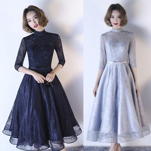 袖付き 袖あり 結婚式ドレス お呼ばれドレス ロン...