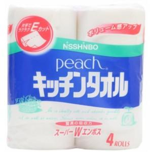 日清紡 ピーチ キッチンタオル 4ロール 【日用消...