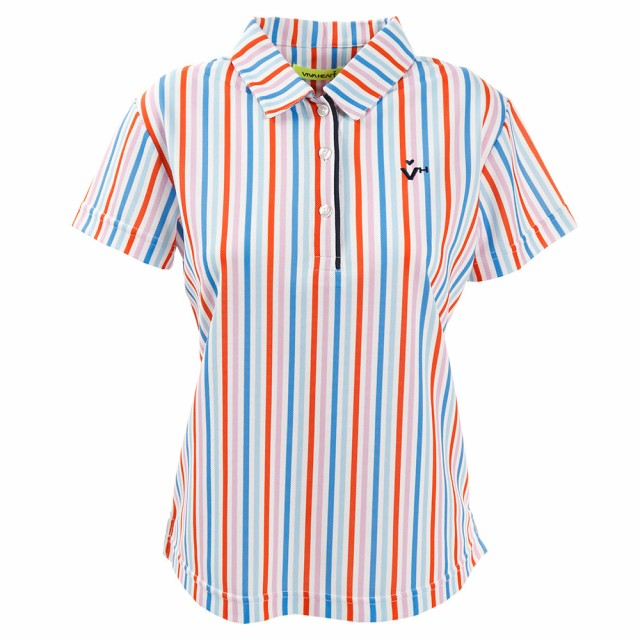 ビバハート(VIVA HEART)ゴルフウェア レディース ストライププリント半袖シャツ 012-29341-038 (Lady's)