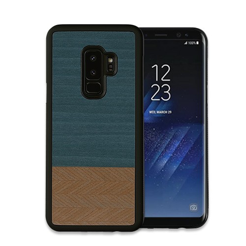 Galaxy S9 S9+ ケース 天然木 Man&Wood Denim ギ...