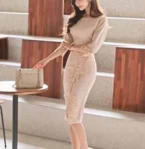 ドレス ワンピース ひざ丈 七分袖  20代 ベージュ...