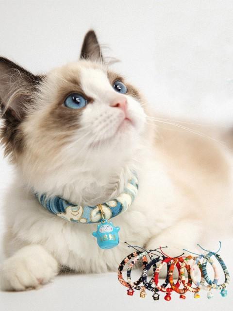 猫用首輪 小型犬 鈴付首輪 和風 シンプル 可愛い ...