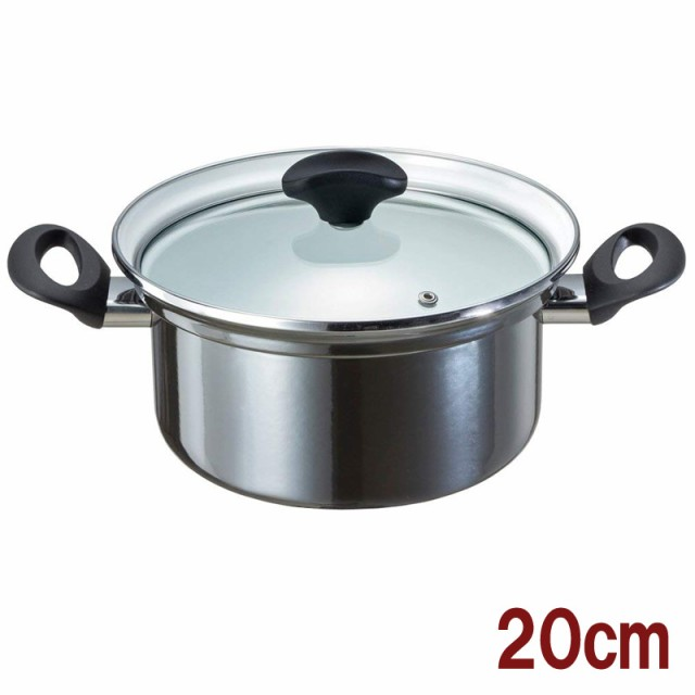 両手鍋 IH対応 ホーロー製 20cm 玉虫色 オニキス...