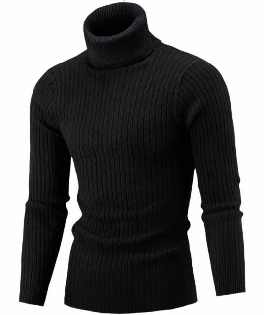 ニットセーター メンズ セーター ハイネック ター...
