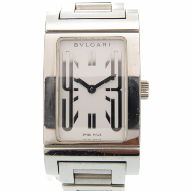 best loved d976d edae4 ブルガリ レッタンゴロ クオーツ 腕時計 ステンレススチール ホワイト 白文字盤 0003 BVLGARI レディース