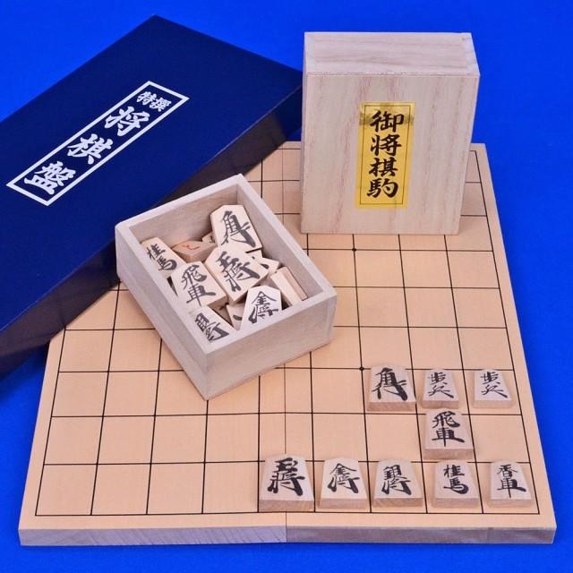 将棋 セット 小型新桂4号折将棋盤セット(木製将棋駒上別製源平駒)