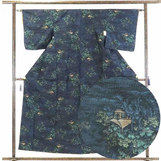 【中古】リサイクル着物 紬 / 正絹紺地黒絣袷紬...