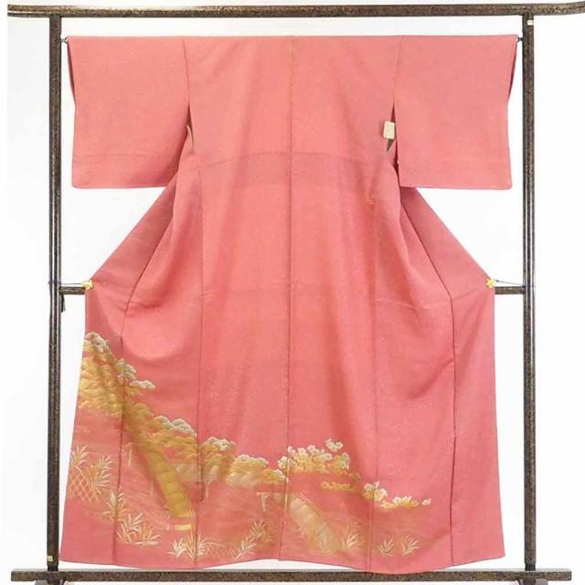 【中古】リサイクル着物 色留袖 / 正絹ピンク地...