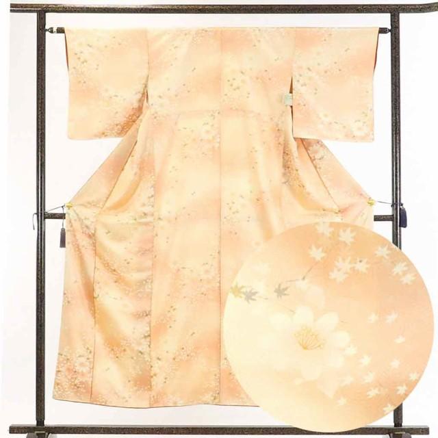 【中古】リサイクル着物 小紋 / 正絹薄茶ぼかし...