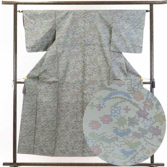 【中古】リサイクル着物 紬 / 正絹グレー地袷紬...