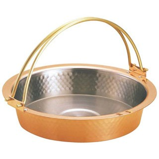 銅 槌目入 すきやき鍋 ツル付 S-2058L 26cm sale