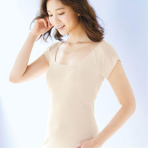 大きな汗取りパッド付きフレンチ袖(綿100%インナ...