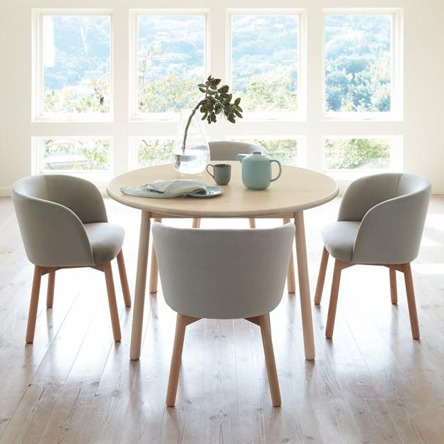 家具 収納 テーブル 机 ダイニングテーブル Ridge/リッジ ダイニングテーブル 天然木丸テーブル 直径110cm H85803