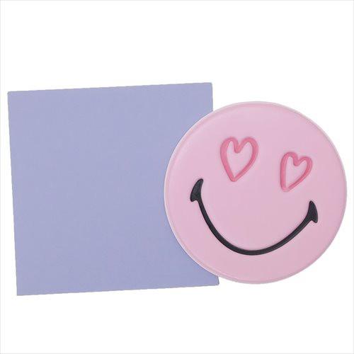 スマイリーフェイス ミニカード 封筒付きぷくぷくミニカード ライトピンク Smiley Face かわいい キャラクター グッズ メール便可
