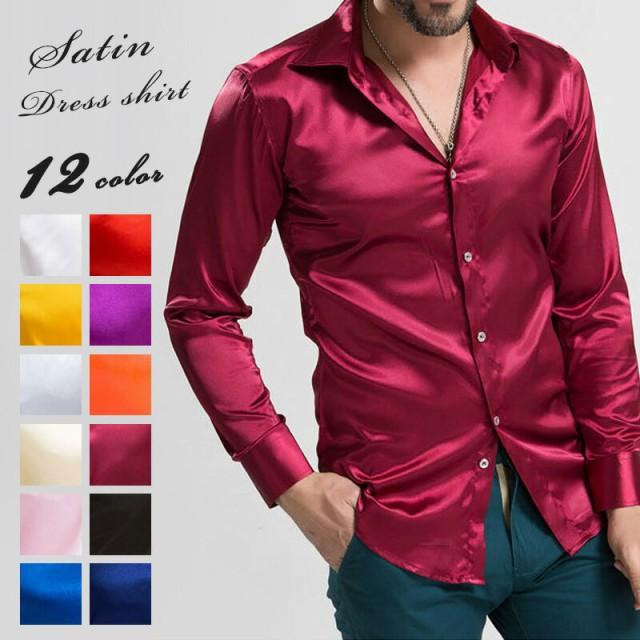 サテンシャツ メンズ 全12色 [サテンドレスシャツ...