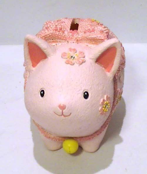 割らずに取り出せる ネコの貯金箱 (さくら) (09...