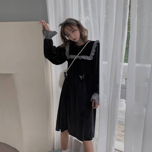 長袖ワンピース 黒 オルチャン 韓国 ファッション...