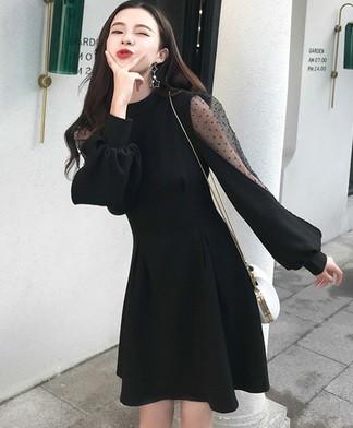 ドレス ワンピース 長袖 シースルー バルーン袖 ...