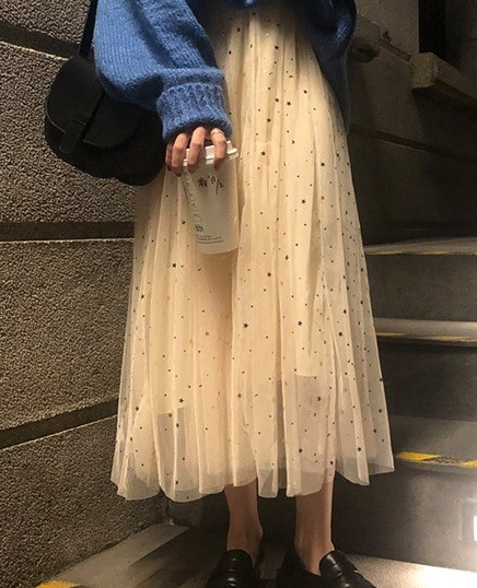 ハイウェストスカート チュールスカート ミモレ丈...