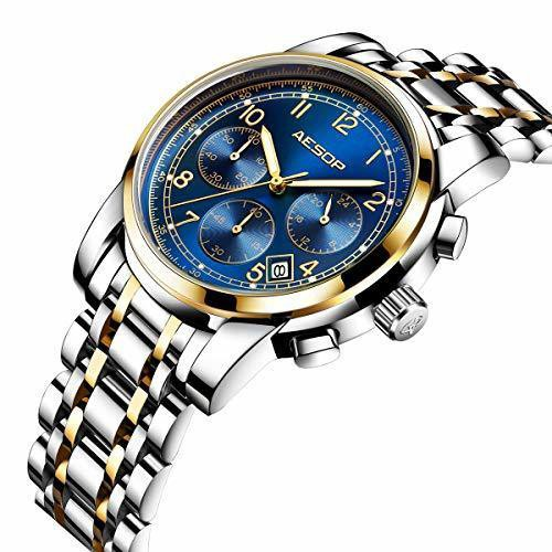 色ブルー/金色/ Aesopオシャレ石英腕時計ステンレ...