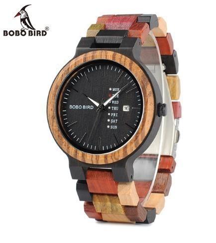 【BOBO BIRD】ユニセックス 木製腕時計 カラフル...
