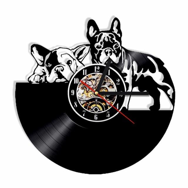 犬 フレンチブルドッグ レコード盤 壁掛け時計 ...