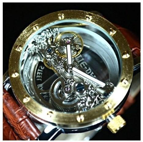buy popular 81db8 3c9f1 TIEDAN メンズ 機械式上時計 自動巻 スケルトン トゥールビヨン ゴールド ブラウン革バンド ☆送料無料☆
