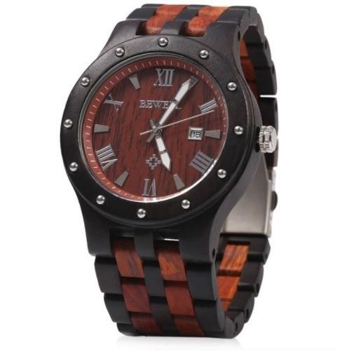 Bewell クォーツ腕時計 メンズ 木製 ブラック・レ...