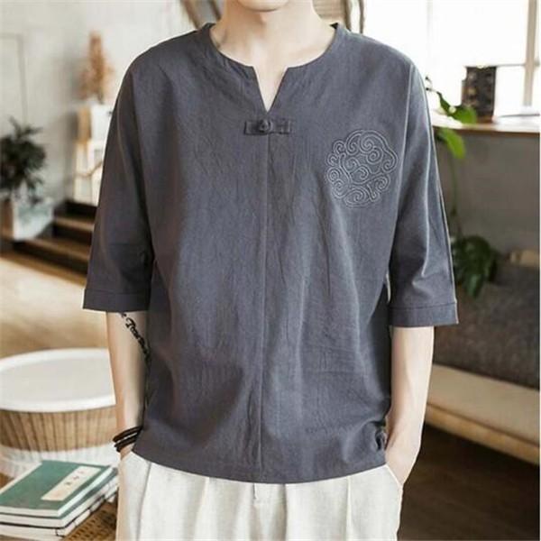 父の日 Tシャツ 夏服 リネンシャツ 4色入  涼し...