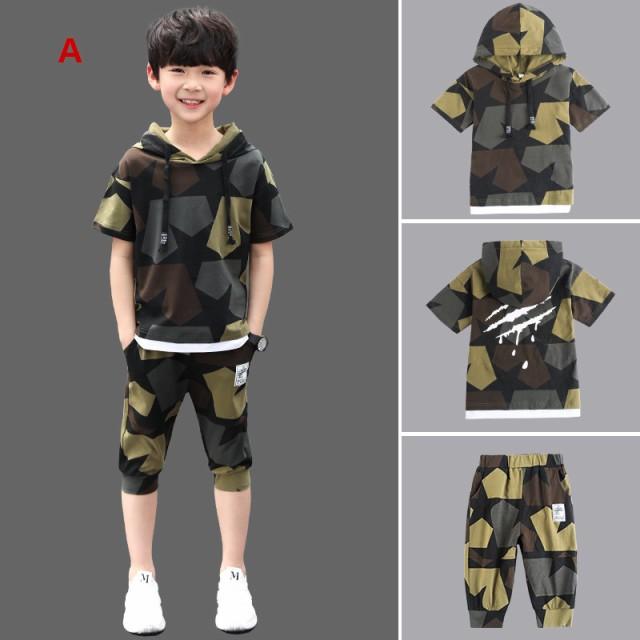 男の子 夏 迷彩 半袖Tシャツ+パンツ 上下セット ...