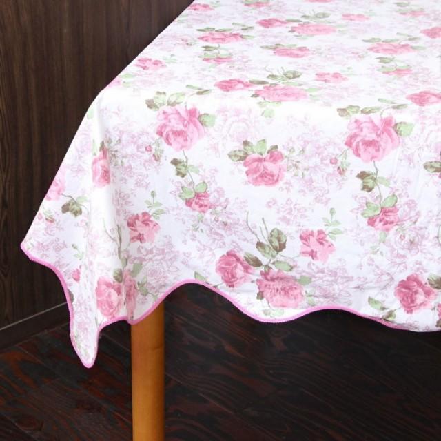 テーブルクロス  ローズ 撥水 137×182cm 薔薇 ピ...