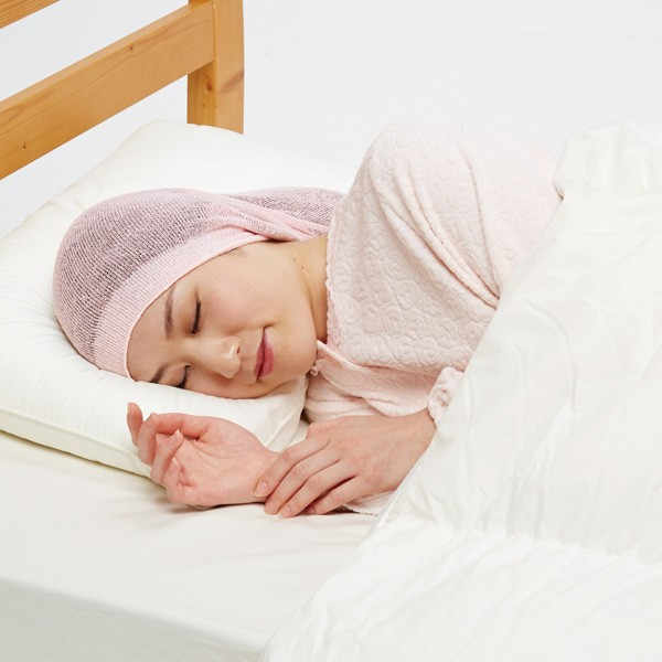 シルク混おやすみヘアキャップ ピンク ヘアキャ...