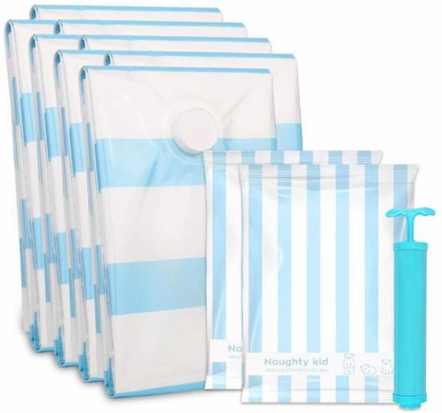 【送料無料】ふとん圧縮袋 10枚組 圧縮袋 (L3枚+M2枚+S3枚+手巻き圧縮袋2枚 ポンプあり) 梅雨対策 大きめ掛け布団・羽毛布団・座布団