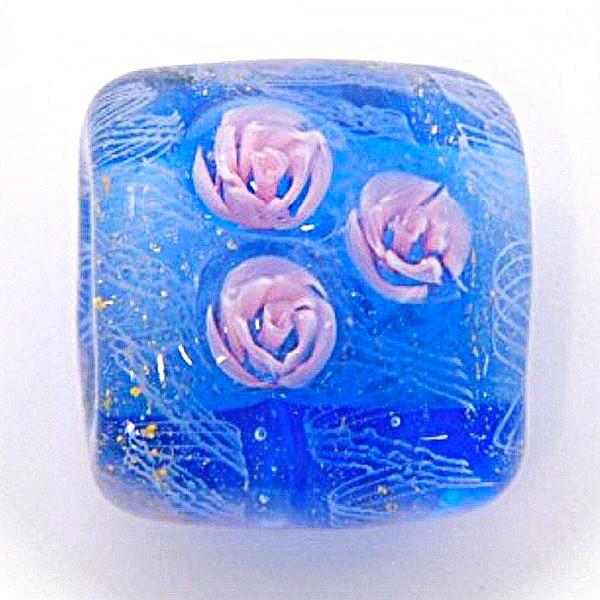 透明の淡い紺色のきれいなとんぼ玉の帯留(薔薇)...