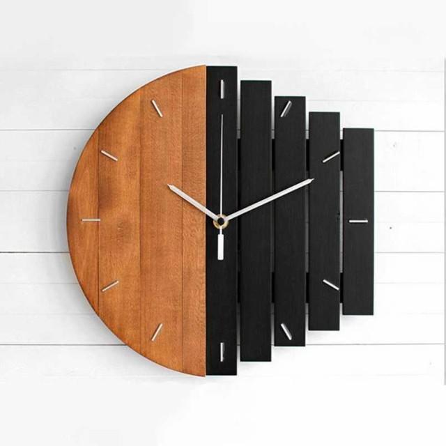 木製掛け時計壁掛け アナログ時計 レトロモダン ...