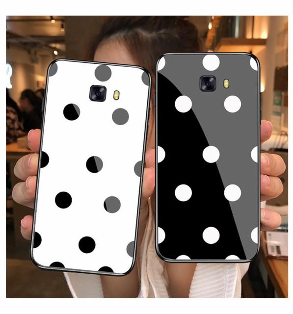 送料無料 Galaxy S10 S9 S8 Note8 水玉柄 ガラス...