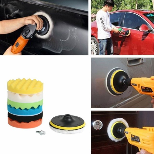 洗車 ワックスがけ 電動ドリル用 8点セット  研磨...