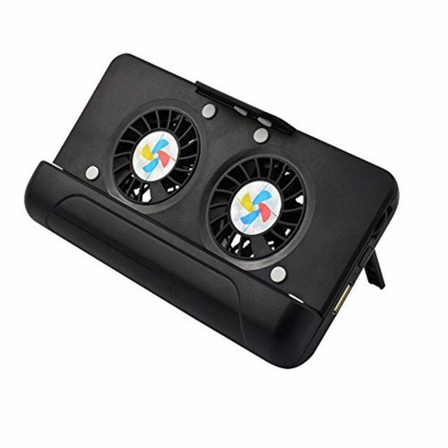 スマホ 冷却 ファン ケース型バッテリー 4400mAh大容量 スマートフォン クーラー 発熱対策 スマホ用スタンド iPhone/Android 3.7-5.5イン