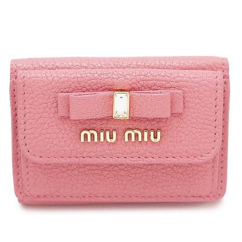 ミュウミュウ 折財布 レディース 5MH021 2D7A F0028 三つ折り財布 マドラスレザー ボウ リボン ローサ ピンク系 MIU MIU MADRAS FIOCCO
