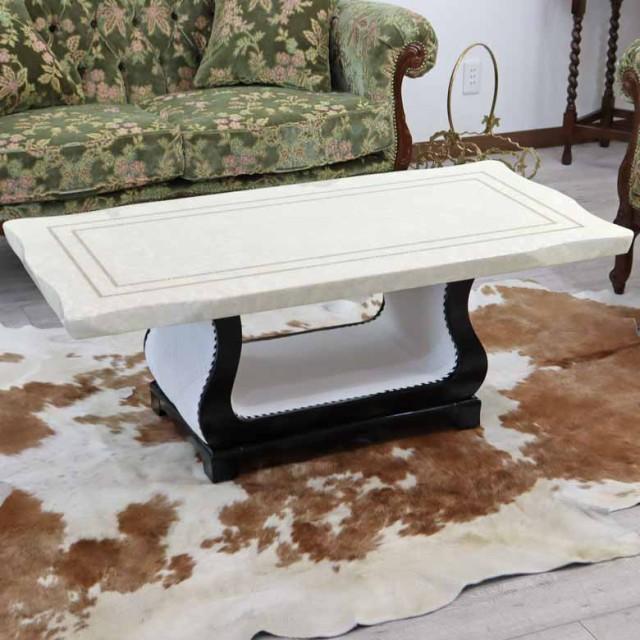 センターテーブル 120cm ホワイト 大理石 四角 長...