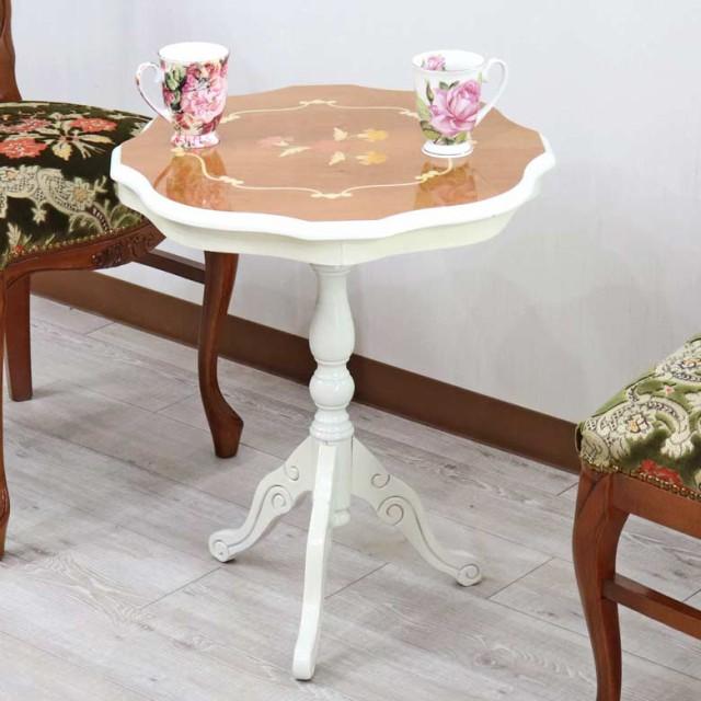 イタリア ティーテーブル ホワイト 象嵌 木製 テ...