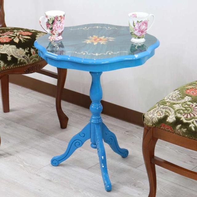 イタリア ティーテーブル ブルー 象嵌 木製 テー...