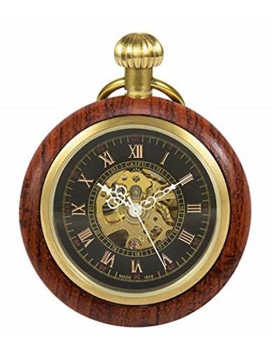 木製 ウッド懐中時計 アンティーク 手巻き レトロ...