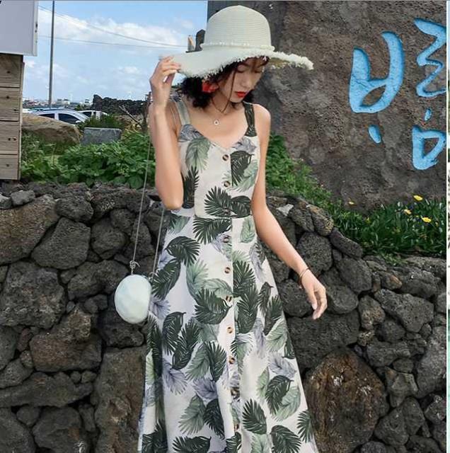 サマードレス サマーワンピース ボタニカル柄 バックリボン バックコンシャス 前開き 前ボタン 前あき アロハ ワンピース ハワイアンワン